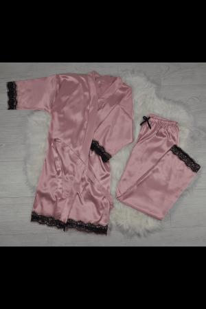 Pijama roz pudra din satin cu dantela set 5 piese0