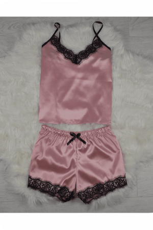 Pijama roz pudra din satin cu dantela set 5 piese1