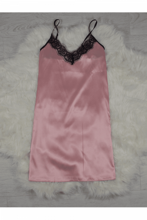 Pijama roz pudra din satin cu dantela set 5 piese2