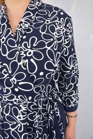 Rochie bleumarin cu maneci trei sferturi si imprimeu floral3