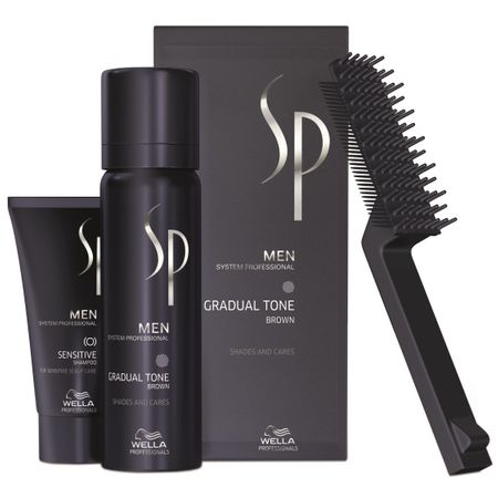 Set ingrijire par Wella Professionals SP Men: Nuantator SP Men Gradual Tone Brown, 60 ml + Sampon SP Men Sensitive, 30 ml + Perie 0