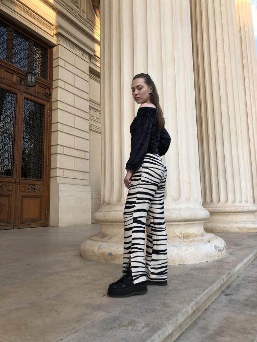 Pantaloni Sage Satinati cu imprimeu zebra [1]