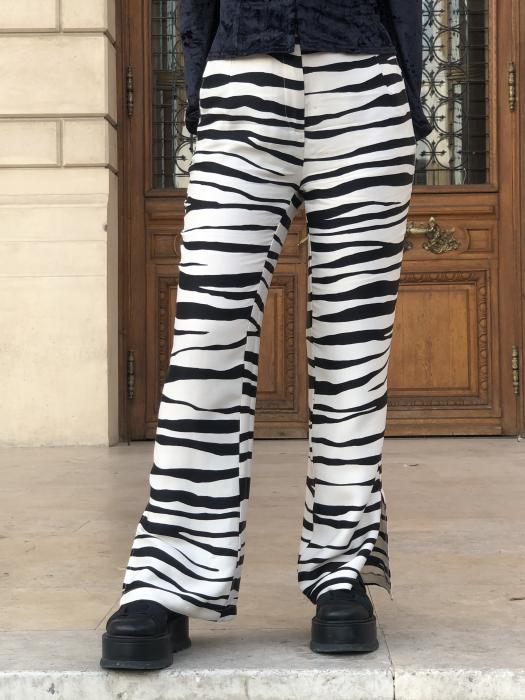 Pantaloni Sage Satinati cu imprimeu zebra [0]