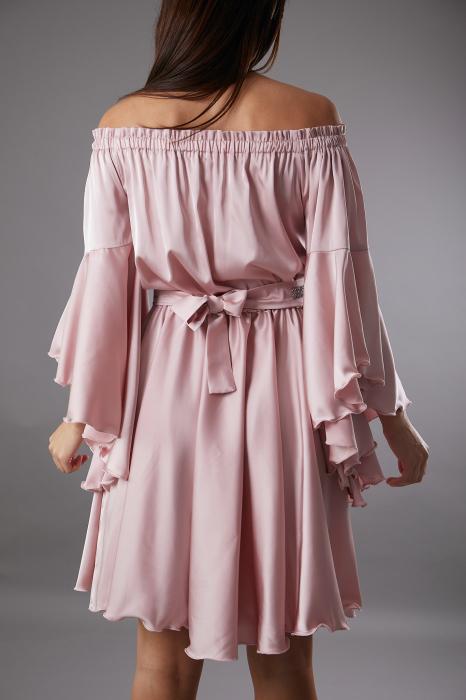 Rochie ALECSA roz din satin si maneci tip fluture [2]