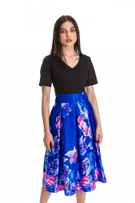 Rochie Azaria cu fusta din tafta albastru electric si imprimeu multicolor [0]