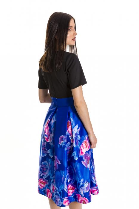 Rochie Azaria cu fusta din tafta albastru electric si imprimeu multicolor [4]