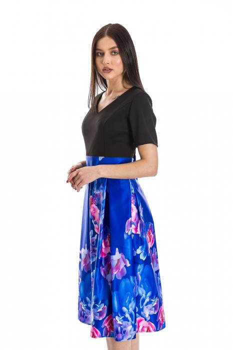 Rochie Azaria cu fusta din tafta albastru electric si imprimeu multicolor [2]