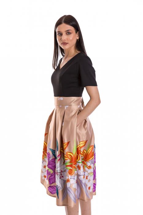 Rochie Azaria cu fusta din tafta crem si imprimeu multicolor [2]