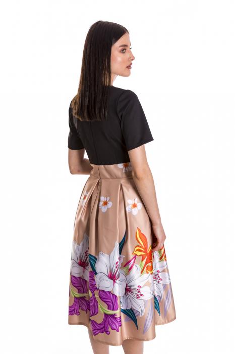Rochie Azaria cu fusta din tafta crem si imprimeu multicolor [4]