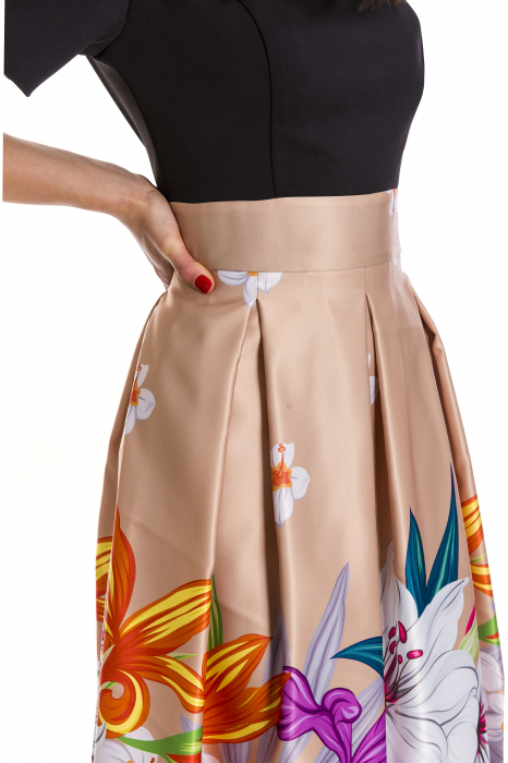 Rochie Azaria cu fusta din tafta crem si imprimeu multicolor [3]