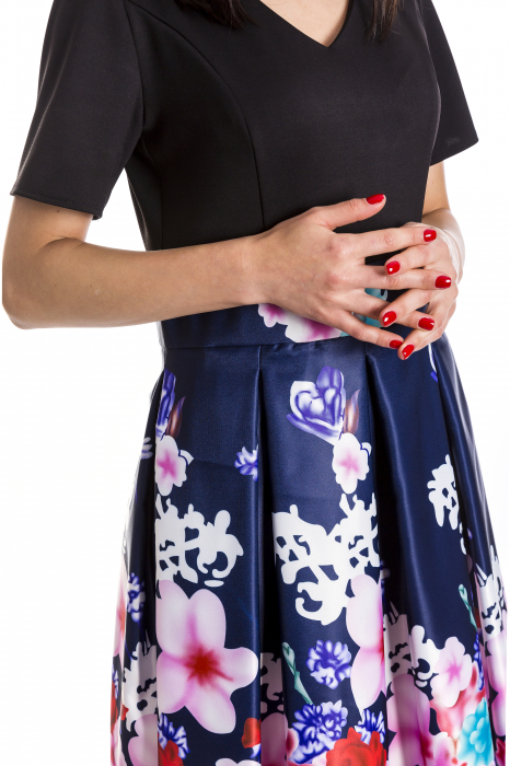 Rochie Azaria cu fusta din tafta bleumarin si imprimeu multicolor [3]
