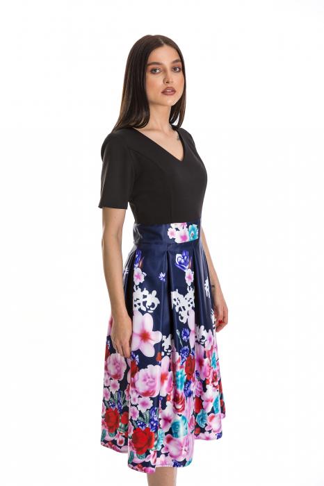 Rochie Azaria cu fusta din tafta bleumarin si imprimeu multicolor [2]