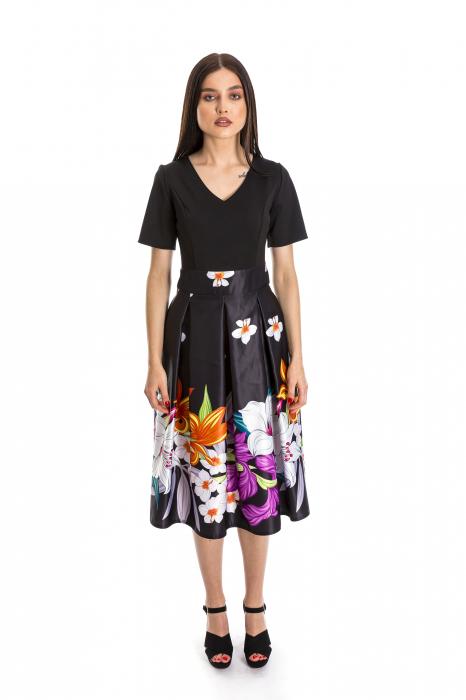 Rochie Azaria cu fusta din tafta neagra si imprimeu multicolor [0]