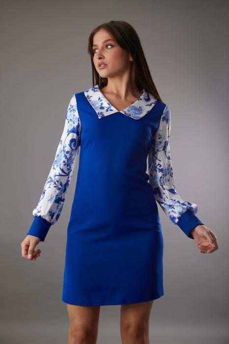 Rochie CATALINA albastra cu maneci din matase [0]