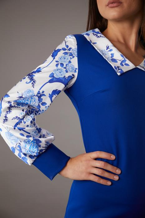 Rochie CATALINA albastra cu maneci din matase [1]