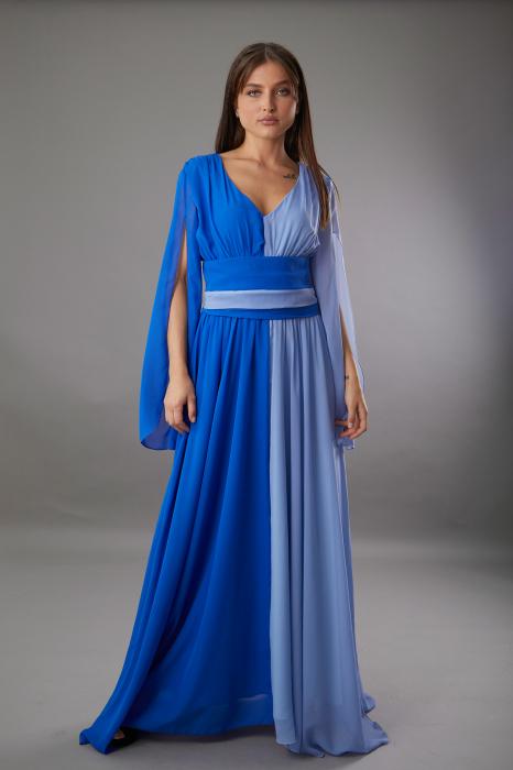 Rochie DIANA lunga in doua culori albastru si bleu [1]