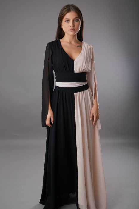 Rochie DIANA  lunga in doua culori roze negru [1]
