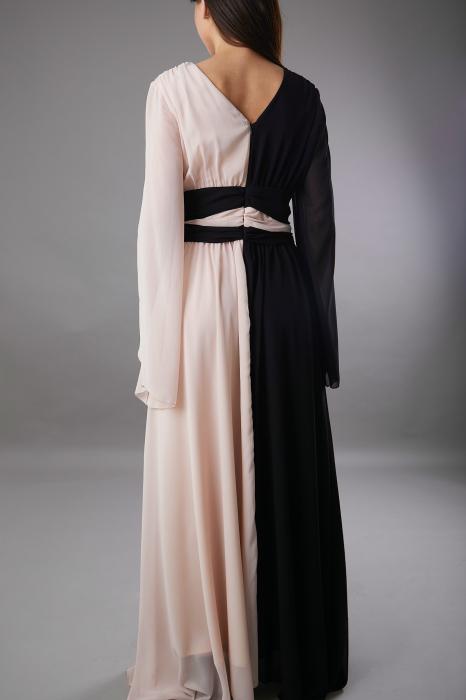 Rochie DIANA  lunga in doua culori roze negru [3]