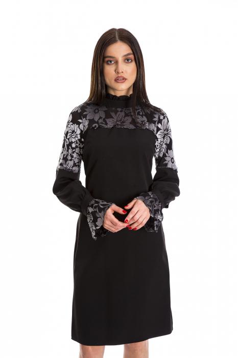 Rochie Ellie neagra cu model din catifea gri [0]