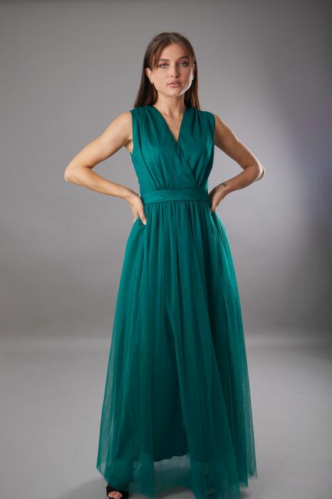 Rochie IRINA  lunga verde din tulle [1]