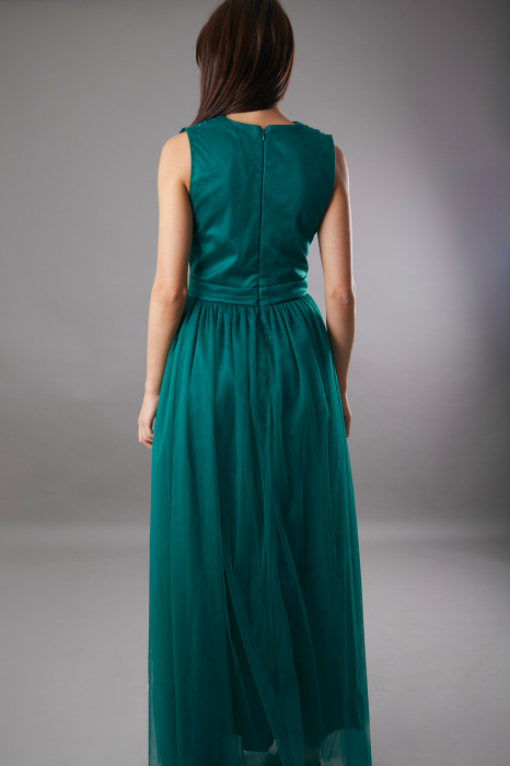 Rochie IRINA  lunga verde din tulle [3]