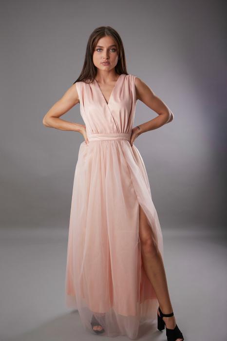 Rochie IRINA  lunga roz din tulle [0]