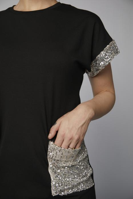 Rochie Roxanne neagra cu paiete argintii [2]