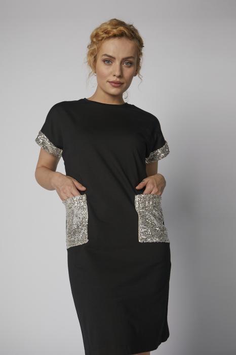 Rochie Roxanne neagra cu paiete argintii [0]