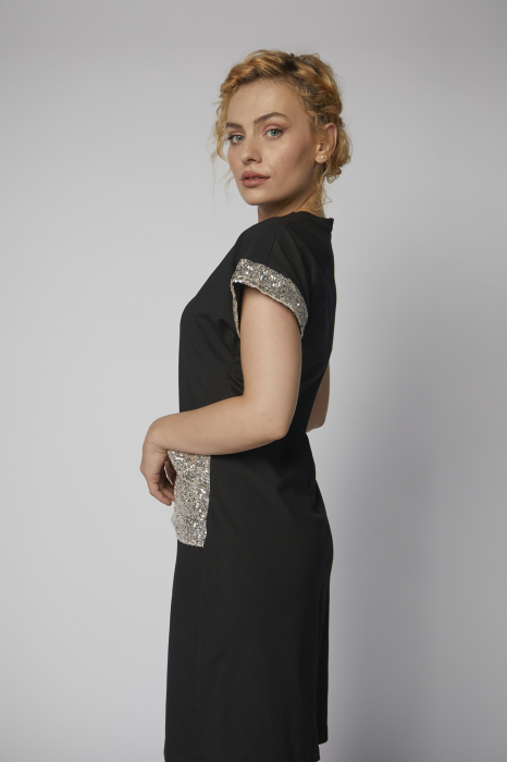 Rochie Roxanne neagra cu paiete argintii [1]