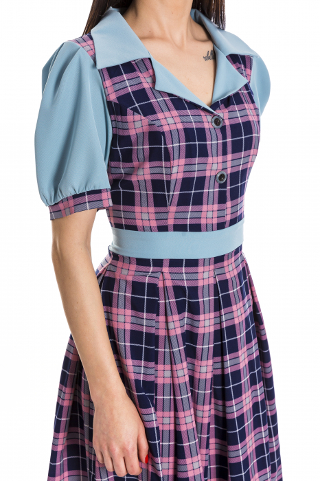 Rochie Simona albastra cu carouri roz si bleumarin [3]