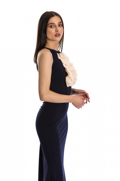 Rochie Sindy lunga bleumarin cu voal aplicat [2]