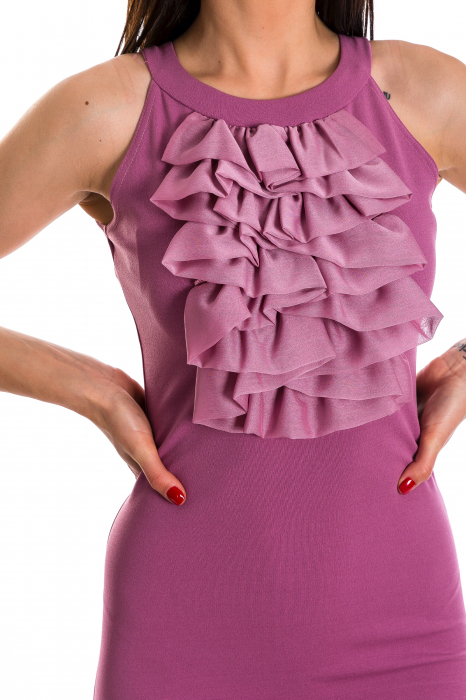 Rochie Sindy lunga roz cu voal aplicat [3]