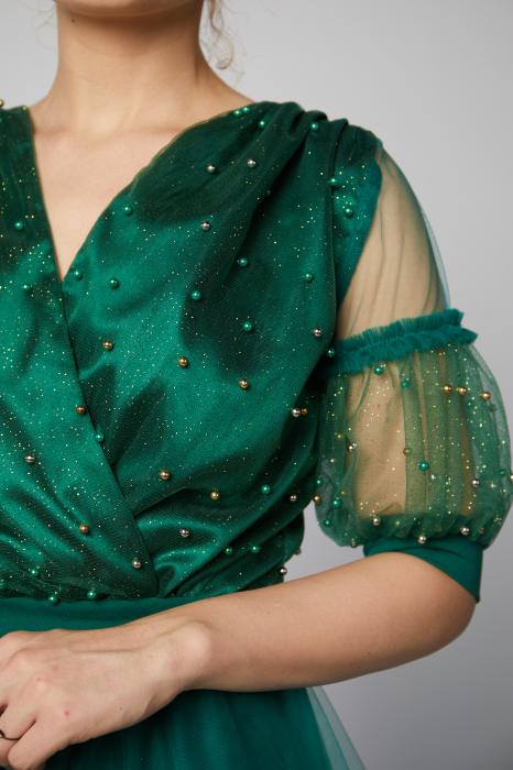 Rochie Stella verde cu aplicatii din margele si dantela [3]