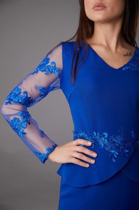Rochie SYLVIA albastra cu aplicatii din dantela [3]