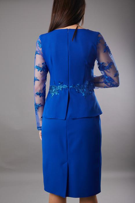 Rochie SYLVIA albastra cu aplicatii din dantela [4]