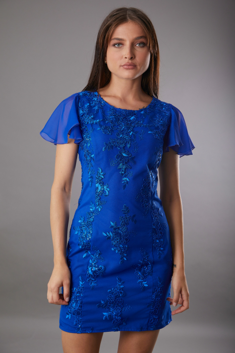 Rochie TAMARA albastra cu dantela si maneca din voal [0]