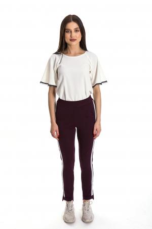 Pantaloni Karina visinii cu banda argintie [1]
