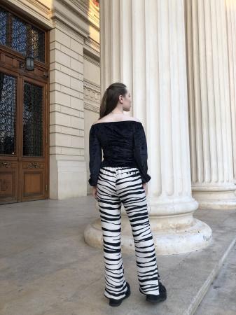 Pantaloni Sage Satinati cu imprimeu zebra [4]