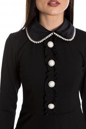 Rochia Maria neagra cu guler din catifea si perlute [4]