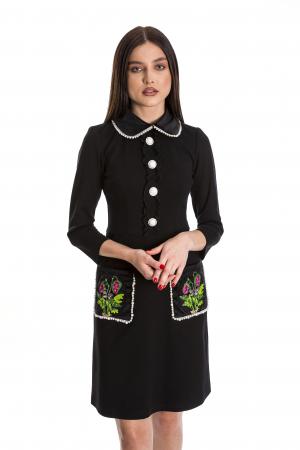 Rochia Maria neagra cu guler din catifea si perlute [0]