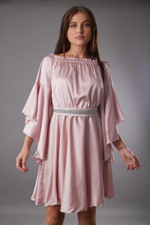 Rochie ALECSA roz din satin si maneci tip fluture [3]