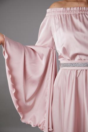 Rochie ALECSA roz din satin si maneci tip fluture [1]