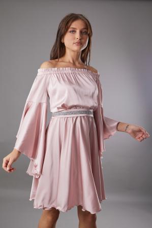 Rochie ALECSA roz din satin si maneci tip fluture [0]