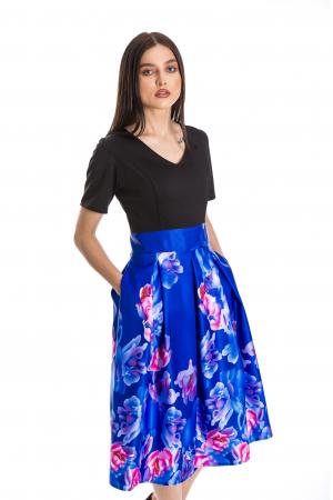 Rochie Azaria cu fusta din tafta albastru electric si imprimeu multicolor [1]