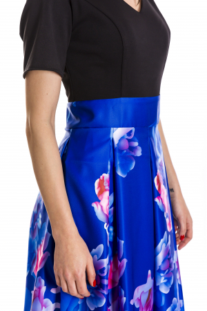 Rochie Azaria cu fusta din tafta albastru electric si imprimeu multicolor [3]