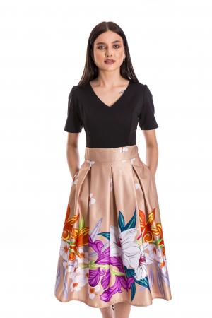 Rochie Azaria cu fusta din tafta crem si imprimeu multicolor [0]