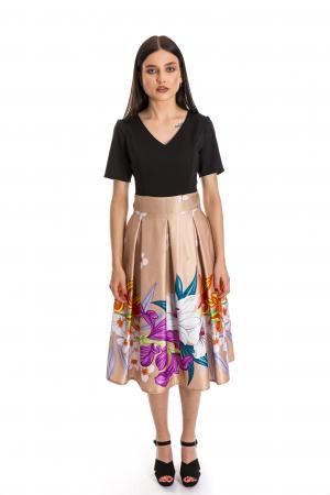 Rochie Azaria cu fusta din tafta crem si imprimeu multicolor [1]