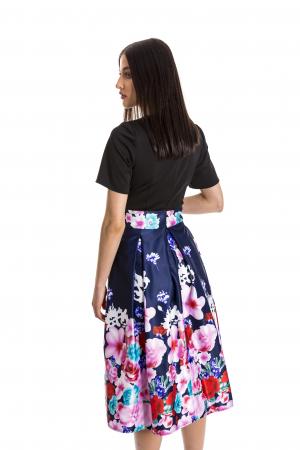 Rochie Azaria cu fusta din tafta bleumarin si imprimeu multicolor [4]