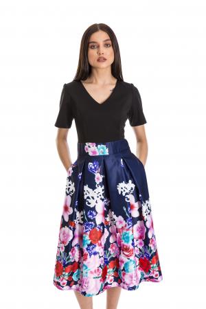 Rochie Azaria cu fusta din tafta bleumarin si imprimeu multicolor [1]