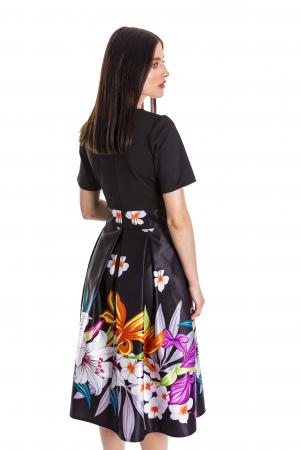 Rochie Azaria cu fusta din tafta neagra si imprimeu multicolor [4]